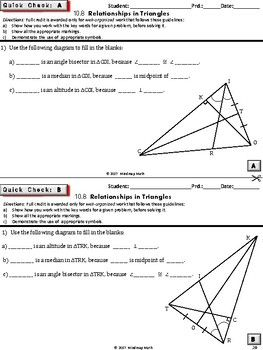 Triangle Properties Hs Geometry Curriculum Daily Assessments Unit