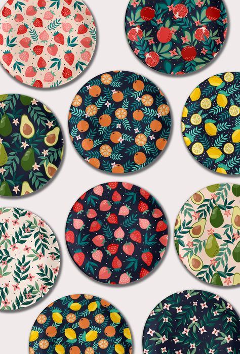 We loved finding these fruit garden collection prints from and Cozy Pattern Shop. The sky is the limit when using these patterns. I need some strawberry pattern sheets. Thanks for sharing your art Anna! Pottery Painting Designs, Paint Designs, Pottery Designs, Vinyl Record Art, Vinyl Art, Vinyl Records Decor, Ceramic Painting, Ceramic Art, Fabric Painting