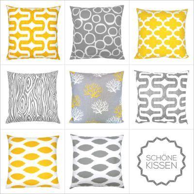 Kombination Kissen Gelb Grau Grafisch 50 X 50 Cm Die Kissen