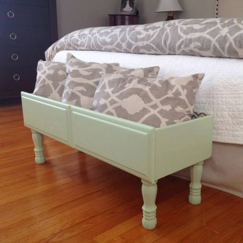 Repurposed dresser drawer w/legs. Great for inside storage or as a planter box.