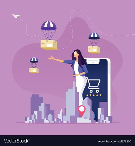 Online shopping and delivery service concept vector image on VectorStock