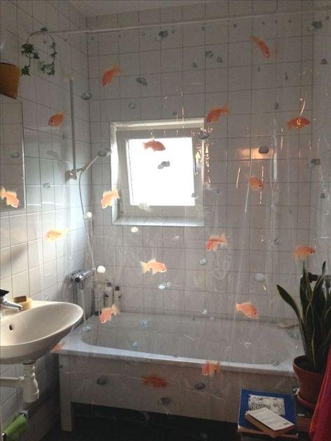 Transparenter Duschvorhang Spirella Goldfisch Orange Efeu Die