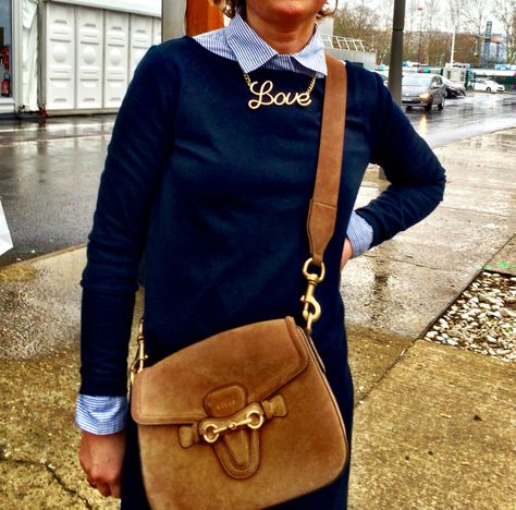 Paris street style. Effortless chic. She told me the necklace was 1 Euro. Fabulous.