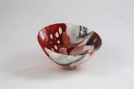 Karin Schwarzer Exquisite Bowl Ball Red Black White Glass Dk Gallery Marietta Ga Dkgallery Decorative Bowls Black And White White Glass