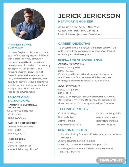 Free Basic Network Engineer Resume Cv Template Word Doc Psd Indesign Apple Mac Pages Illustrator Publisher Engineering Resume Templates Basic Resume Engineering Resume