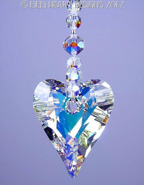m//w Swarovskl Huge 37mm Wild Heart SunCatcher and AB Strand Lilli Heart Designs