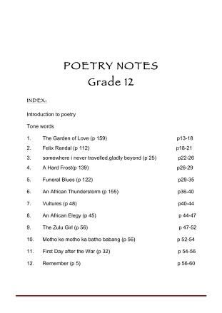 English Poetry Notes Grade 12 Free Download Borrow And