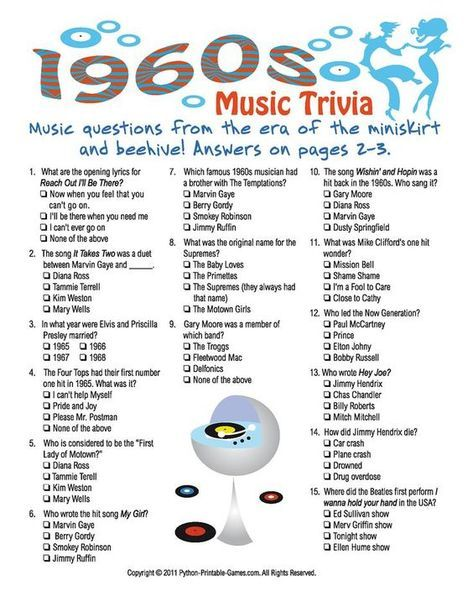 photograph relating to 1950 Trivia Questions and Answers Printable identified as Printable 1960s Trivia Video game enjoyment game titles Birthday