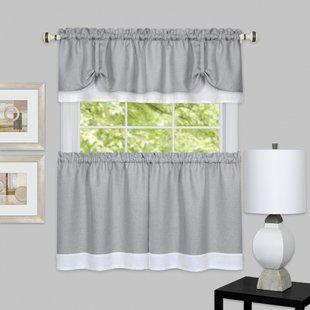 Gray Silver White Valances Kitchen Curtains You Ll Love Wayfair White Kitchen Curtains White Valance Valance Curtains