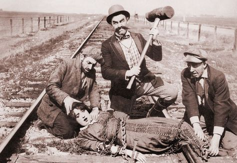 Did someone really tie a damsel in distress to the railway