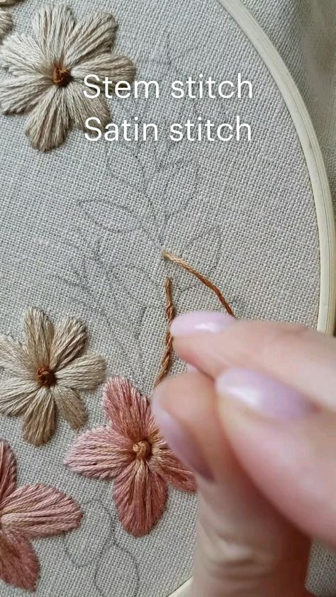 Stem stitch Satin stitch Hand embroidery