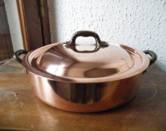 Casserole Bowl Copper /& Bronze Handle