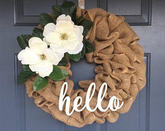 Burlap Wreath,House Warming Gift, Hello Wreath Farmhouse Wreath Farmhouse door wreath