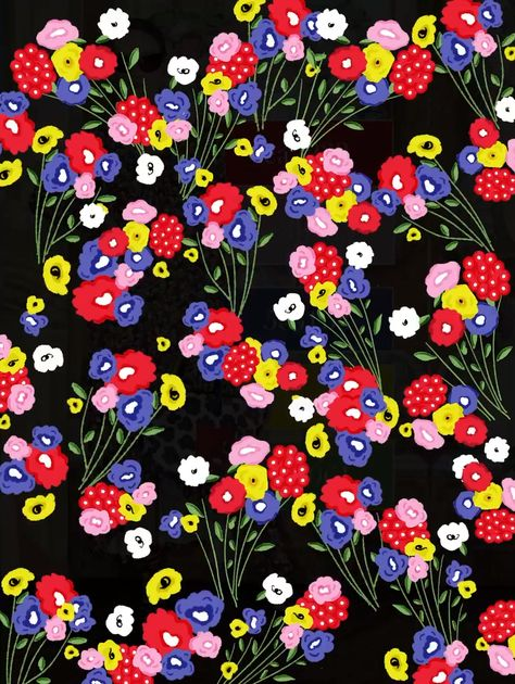 Ditsy Colorful Print pattern, pink yellow, red and purple little flowers - Vector