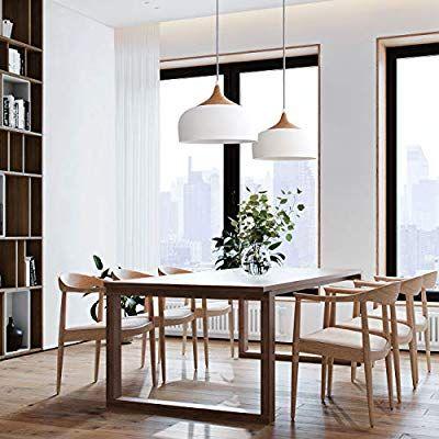 Tomons Pendelleuchte Weiss Led Deckenlampe Skandinavisch Moderner Simpler Stil Fur Wohn Beleuchtung Wohnzimmer Decke Skandinavisches Esszimmer Esszimmerleuchten