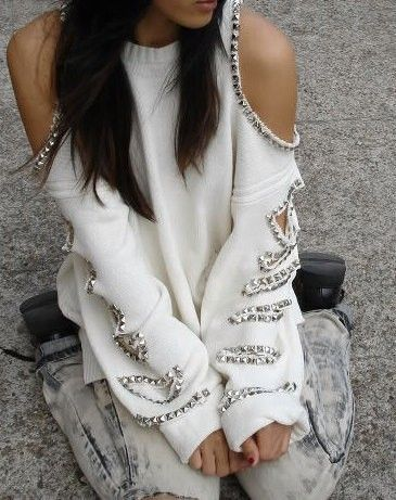 studded cut out sweater