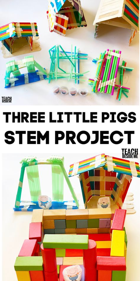 Try out this Three Little Pigs STEM project for kids. Build the house that is the strongest and can withstand the gusts of wind! 3 Little Pigs Activities, Fairy Tale Activities, Steam Activities, Preschool Activities, Stem Projects For Kids, Stem For Kids, Science Projects, Three Little Pigs Houses, Fairy Tale Crafts