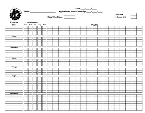 Training worksheet to record gym workouts from Planet Fitness - workout log sheets