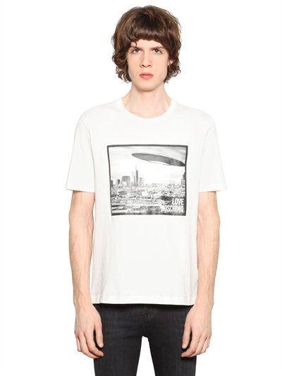 LOVE MOSCHINO SPACESHIP PRINTED COTTON JERSEY T-SHIRT, WHITE. #lovemoschino #cloth #t-shirts