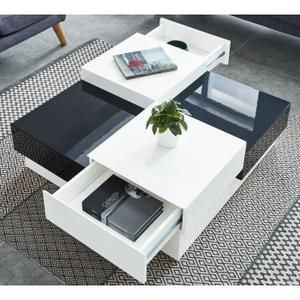 Miami Table Basse Carree Style Contemporain Laquee Noir Et Blanc Brillant L 91 X L 91 Cm Table Basse Carree Table Basse Blanc Laque Table Basse