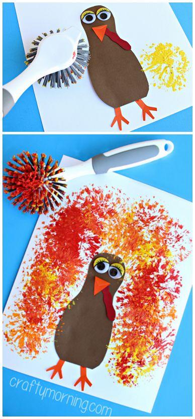 Dish Brush Turkey Craft #Thanksgiving Craft for Kids to make! | CraftyMorning.com