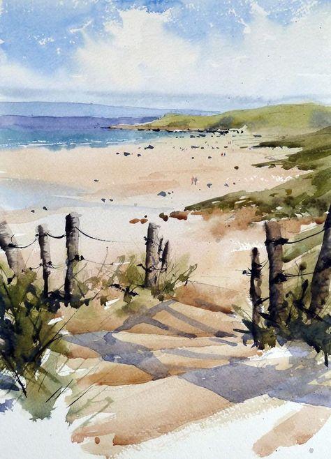 Grahame Booth Strand Aquarell Wasserfarben Landschaften Und
