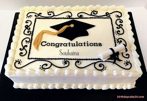Congratulation Graduation Cake With Name Edit Edit, cake, Graduation, Graduation Cakes, Congratulation Graduation Party Planning, College Graduation Parties, Graduation Celebration, Graduation Party Decor, Graduation Ideas, Graduation Cake Designs, Graduation Cupcakes, Costco Cake, Congratulations Cake