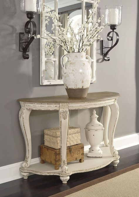 Realyn - White/Brown - Sofa Table by Signature Design by Ashley. Get your Realyn - White/Brown - Sofa Table at American Furniture, Brooklyn Park MN furniture store. Foyer Table Decor, Entry Table With Mirror, Small Entryway Decor, Rustic Farmhouse Entryway, Accent Table Decor, French Farmhouse Decor, Antique Farmhouse, Farmhouse Chic, Living Room Decor Table