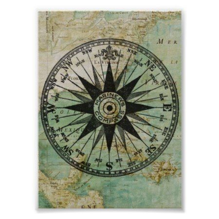 Antique Nautical Compass Map Poster Zazzle Com In 2020 Map Poster Nautical Compass Nautical Compass Tattoo