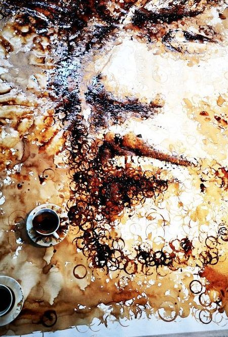 Coffee is a pain when it stains tables and clothes, but who knew these rings could make something beautiful? Malaysan artist Hong Yi creates painting with coffee cup stains.
