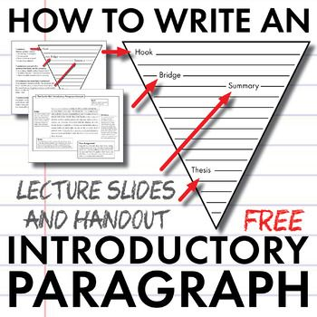 How to Write an Introductory Paragraph, FREE Slides + Handout, Model Intro. Essay Writing Tips, Writing Strategies, Writing Lessons, Teaching Writing, Writing Skills, Writing Ideas, Teaching Ideas, Writing Lab, Writing Rubrics