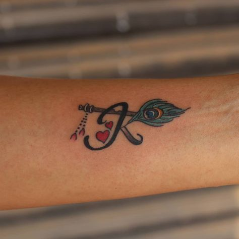 """Sudarshan Mac on Instagram: """"#lettering #letter #k #flute #hearts #peacock #feather #colour #tattoo #small #smalltattoo #colourtattoo #cheyennethunder #cheyenne…"""""""