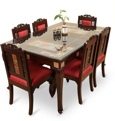 Exclusivelane Teak Wood Solid Wood 6 Seater Dining Set Finish Color Walnut Brown 6 Seater Dining Table Square Dining Room Table Dining Table Chairs