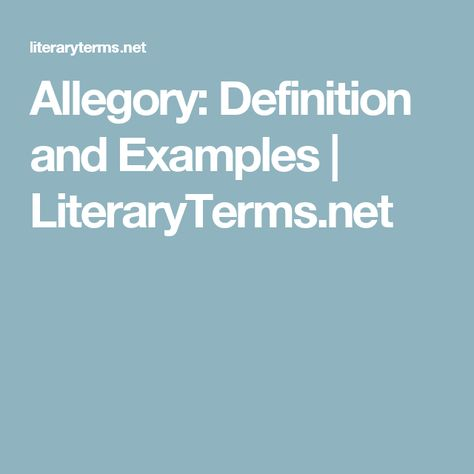 Allegory Definition And Examples Literaryterms Net Literary