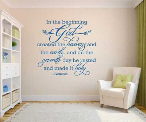 Religious wall quote. In the beginning - CODE 201