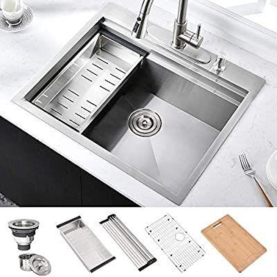Hosino 25 Inch Workstation Drop In Kitchen Sink Topmount 10 Inch Deep 304 Stainless Steel Single Bowl Kitchen B Drop In Kitchen Sink Bar Sink Single Bowl Sink