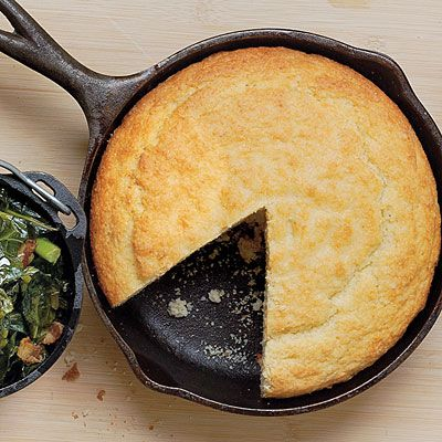 Buttermilk Cornbread, Southern Living style. In the South, cast iron pans are passed down through generations.