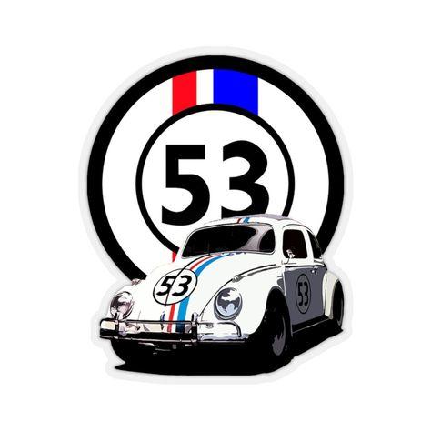 Herbie The Love Bug Movie Number 53 Kiss-Cut Sticker - 3 × 3 / Transparent