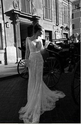 Graceful White/ ivory Style Long sleeve Lace Wedding Dresses Sexy V-Neck Backles