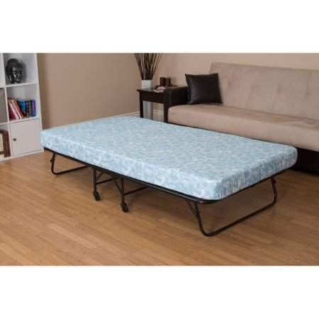 Twin Folding Guest Bed With Five Inch Flame Retardant Non Sagging Mattress Tubular Steel Frame For Extended Durabil Folding Guest Bed Guest Bed Roll Away Beds