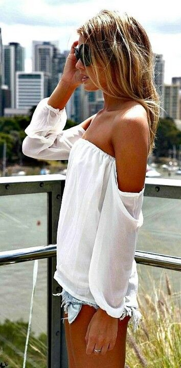 white flowy off the shoulder top-love it but the shorts are to short for me so I would never wear them.