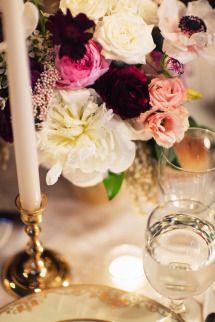 Dinner table arrangement // Lauren & Jon's wedding at Alder Manor in Yonkers, NY // Photo: Jonathan Young