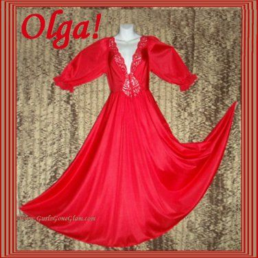 STUNNING RED Vintage OLGA Nightgown RARE LONG SLEEVE Gown ENORMOUS SWEEP Lacy #92470 Sz M+! @ gurlz.ecrater.com