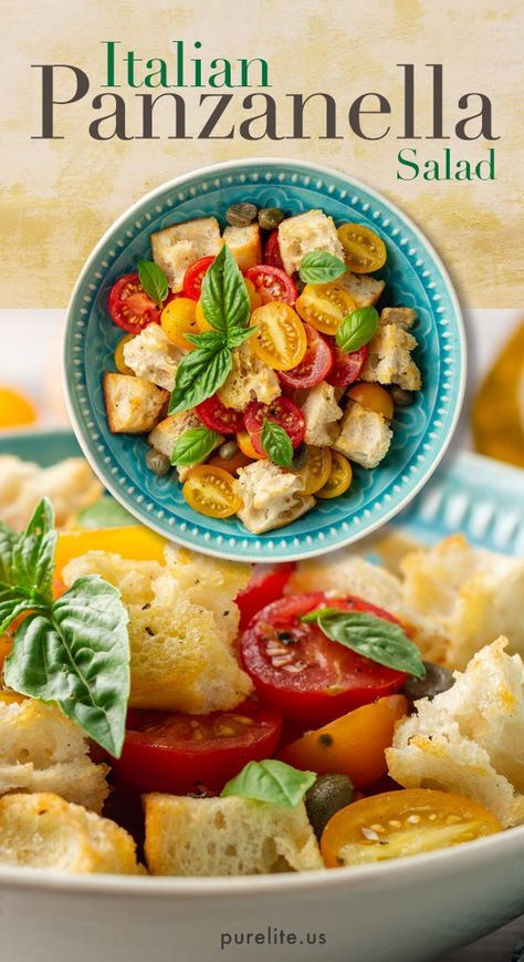 This healthy salad has been enjoyed for centuries in Italy. Draped in an olive oil, Dijon mustard vinaigrette, this delightful recipe makes an excellent lunch or as a dinner salad.  #dinnersalad #dinnerrecipes #saladrecipes #healthyrecipes #veganrecipes #veganshare #veganshares #healthylunch #healthylunchideas #healthylunches #saladideas #weightlossdiet #healthymeals #eatinghealthy #panzanella #panzanellasalad #italiansalad #vinaigrette #vinaigrettedressing #eatcleandiet #veganfoodlovers
