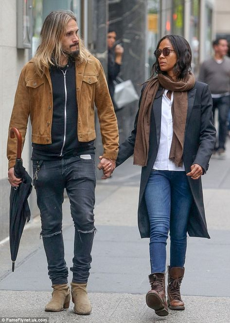 Zoe Saldana And Marco Perego Walk Hand In Hand On Loved Up