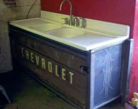 Vehicular Furnishings and Automotive Decor. This would be cool in an outdoor kitchen or cabana house. Original article and pictures t. Car Part Furniture, Automotive Furniture, Automotive Decor, Furniture Plans, System Furniture, Kids Furniture, Furniture Design, Barrel Furniture, Furniture Chairs