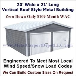 20 X 21 Steel Building Vertical Roof Metal Garage Metal Carport Depot Metal Buildings Roof Styles Metal Carports
