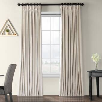 Solid Blackout Thermal Rod Pocket Curtain Panels Velvet Curtains
