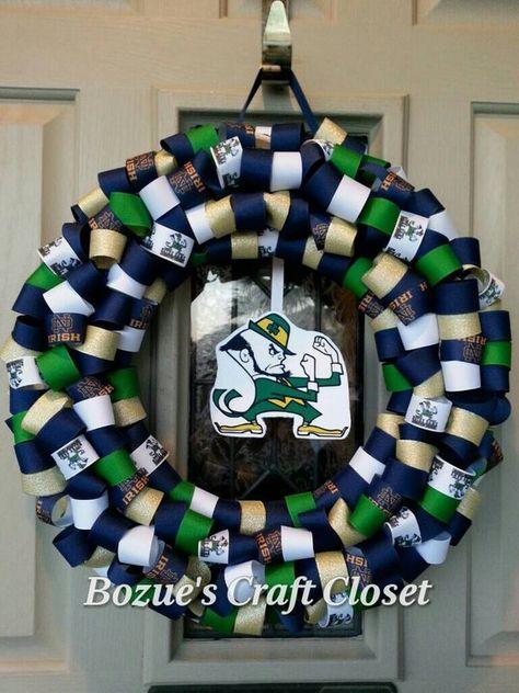 Notre Dame wreath, Show your Irish pride, College football ribbon wreath, Irish wreath, Notre Dame decor, Irish decor, college football