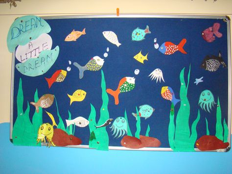 Designed by Lorraine Perkins, contributor to Classroom Displays and Bulletin Boards, this cute ocean themed display would make a lovely addition to your summer Bible school program or Sunday school.